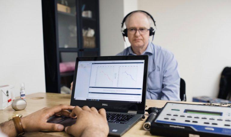 A hearing test in progress