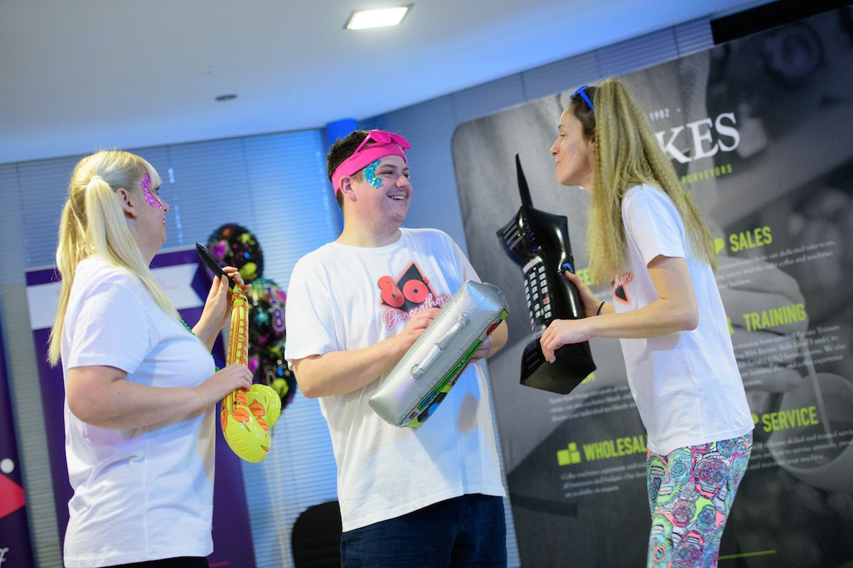 Damien during the charity 80s Danceathon with friends Samantha and Charlotte